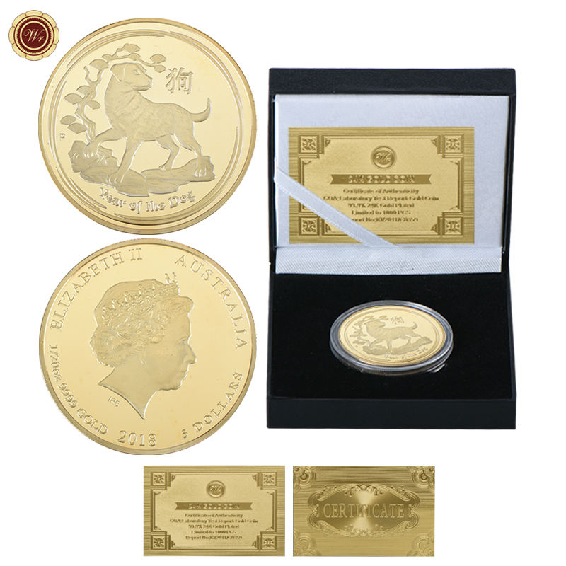Hot Selling 999 Gold Dog Coin 1 oz, Tungsten Metal Elizabeth II Gold Coins 24k Pure For Sale