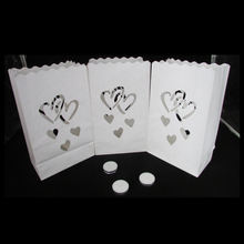 Heart style earth luminairy bag fire resistant Tea Candle Paper Bags for wedding ceremony