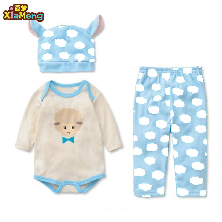 2018 hot sale 3-piece 한 벌 lovely animal baby romper