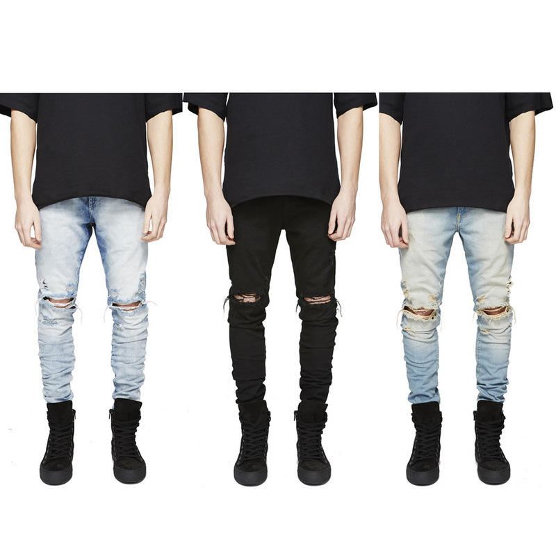 Nieuwe Mode Mannen Skinny Jeans Rip Slim Fit Denim Verzwakte Biker Bekrast Hollow Out Lange Jeans Broek