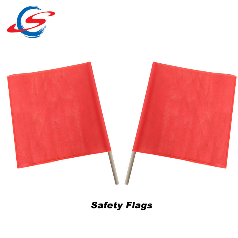 custom red orange cheap hand held safety warning flag with wood pole
