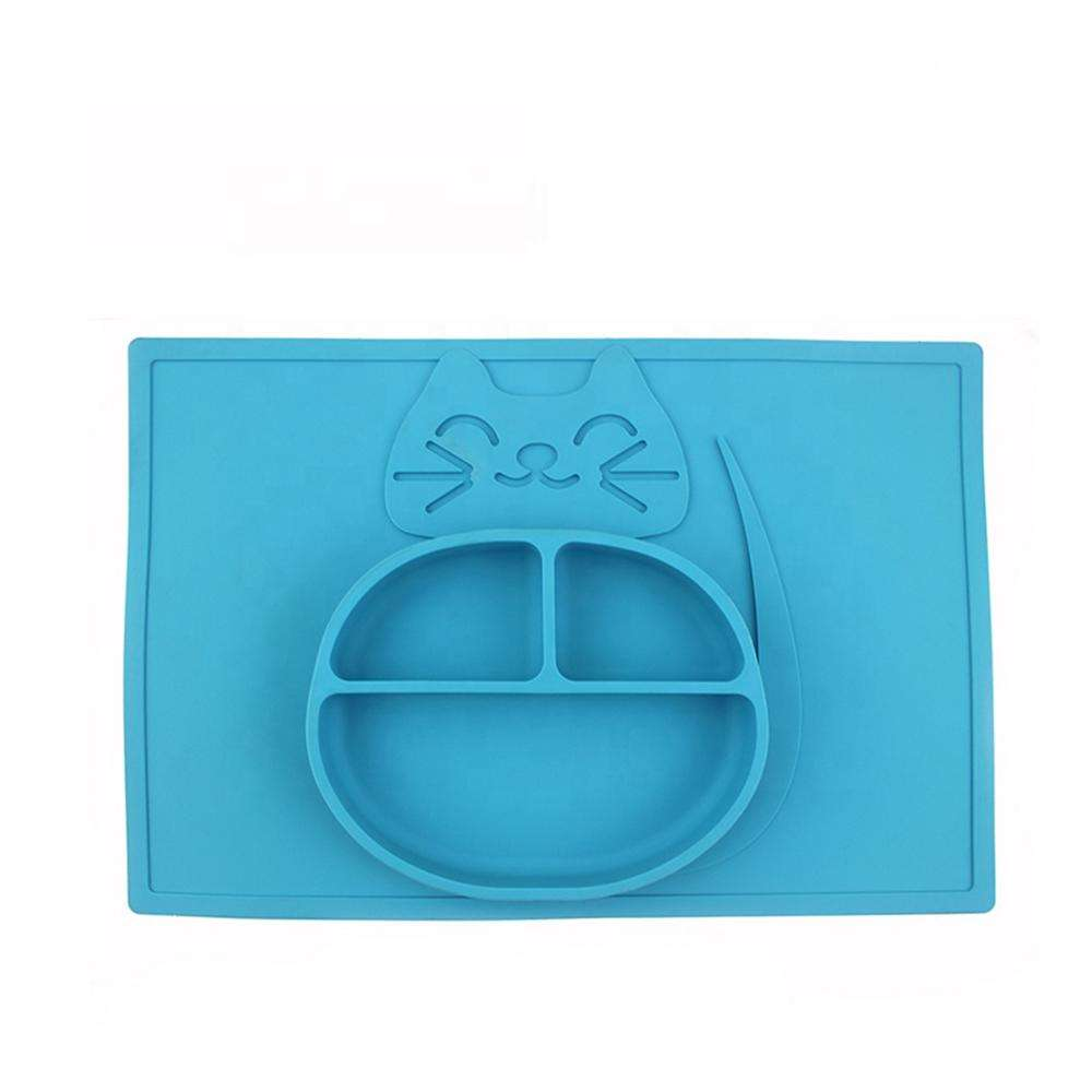 New Design Animal Shape Non Slip Durable One-piece Baby Silicone Placemat