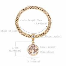 LongWay Vintage Designer Austrian Rhinestones Gold Color Tree of Life Charm Bracelets Popcorn Chain Jewelry For Women