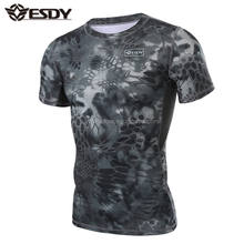 ESDY Outdoor Military Short Sleeves Tactical Assault Combat Camouflage T-shirt
