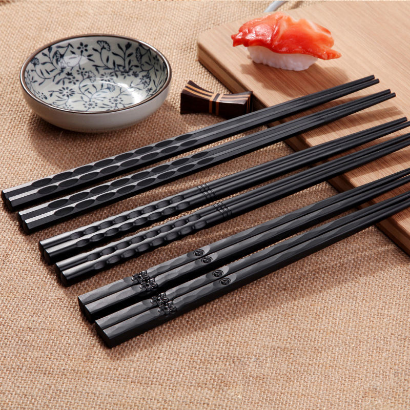 High Quality Pattern Alloy Black Chopsticks with Logo