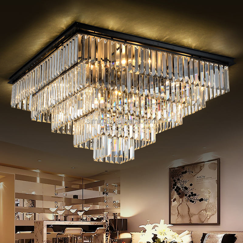 new designer Modern K9 Crystal Chandeliers square crystal ceiling lamp for Home Decorative Lighting