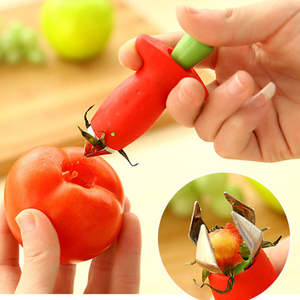 2PCS Berry Stem Leaves Huller Gem Remover Removal Fruit Peeling Tool Kitchen Accessories Corer Easy for Remove Strawberry Tomatoes and Stem Tool Strawberry Huller Fruit Slicer Set