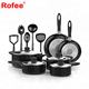 15 Piece Nonstick Cookware Set; 2 Saucepans and 2 Dutch Ovens with Glass Lids, 2 Fry Pans and 5 Nonstick Cooking Utensils
