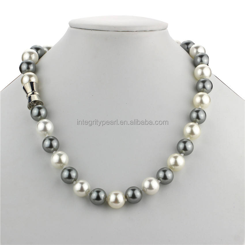 New 12mm AAA round 18 inch white&gray shell pearl genuine natural freshwater pearl jewelry necklace silver plated clasp