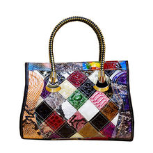 Leather Handbag Sac A Main Femme Snake Leather Hot Colorful Stitching Handbag 2019 Hand Made Leather Bags
