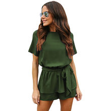 Wholesale Women Half Sleeves Peplum Waist Romper One Piece Jumpsuit