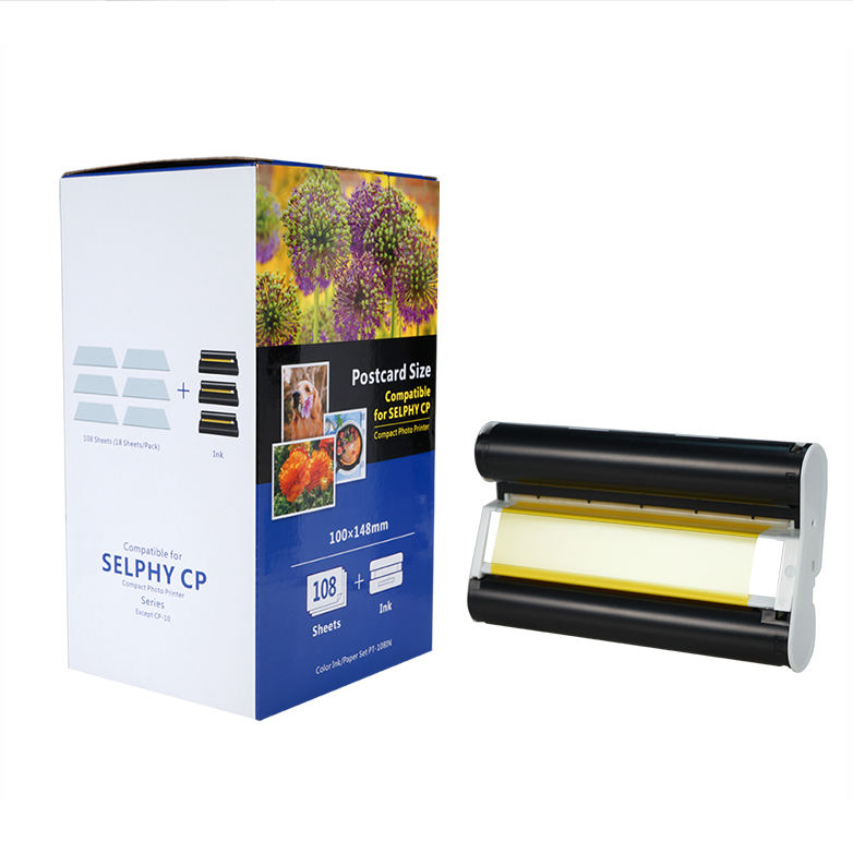 PUTY high quality selphy paper and ink PT-108IN 100*148mm compatible for selphy printer cp1200