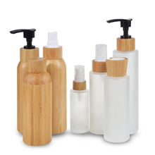 bamboo cosmetic packaging toner lotions serum  50ml 100ml 120ml 150ml frosted glass bottle with bamboo lid