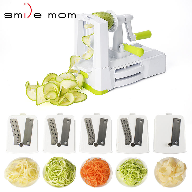 Zucchini Sebze Spiralizer Food Veggie Cut Hand Held 5 Blade Spiral Slicer Vegetable Spiralizer