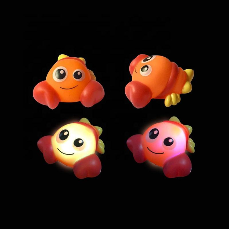 fish shaped design educational floating sensing luminous animal toy LED light up baby bath toys