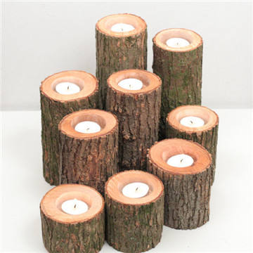 Vero Albero di legno di Betulla In Legno Log Tea-light Candle Holder regalo unico
