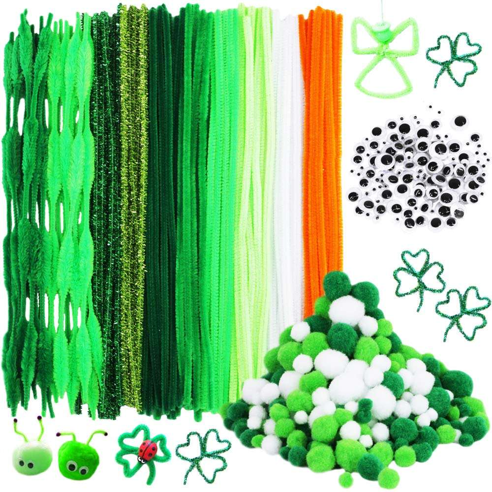500 Pieces St. Patrick's Day Chenille Stem Pipe Cleaners Set for Craft Party Supplies 4 Size Pom Poms 4 Size Wiggle Googly Eyes