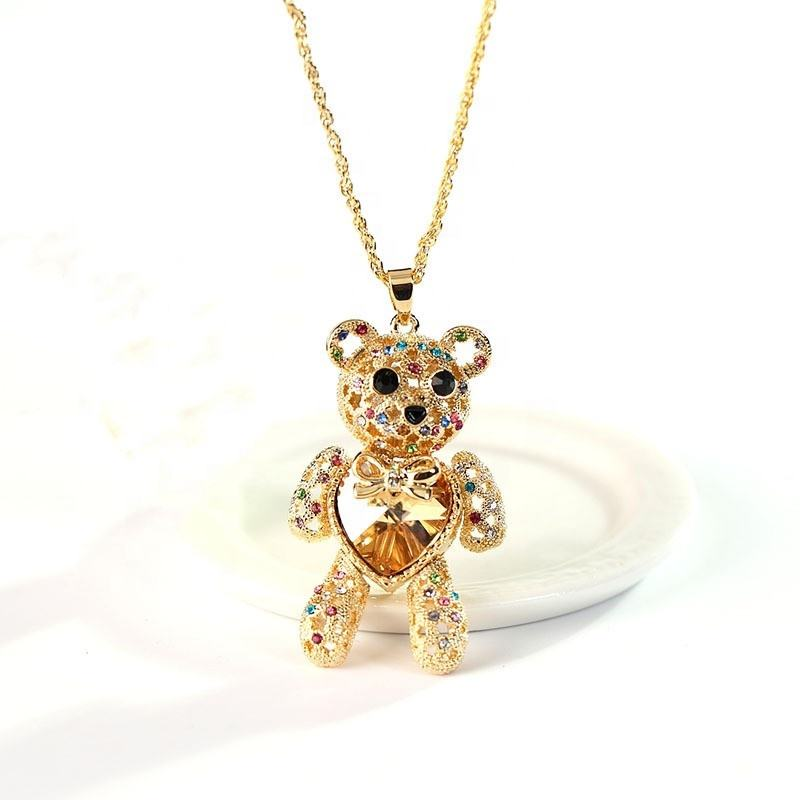 Crystal love heart Gold plated jewelry long teddy bear necklace for women