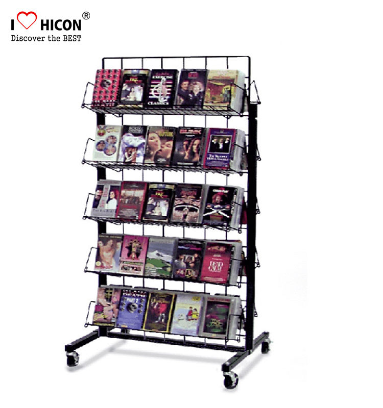 Dubbelzijdig 5-Layer Metalen Draad Dvd Display Rack Beweegbare, Ijzer Cd Dvd Display Rack Vrijstaande