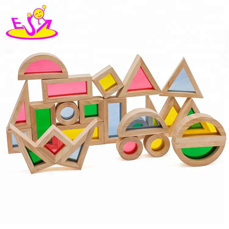 Amazon hot sale 24 pieces intelligence wooden rainbow blocks for children W13A159