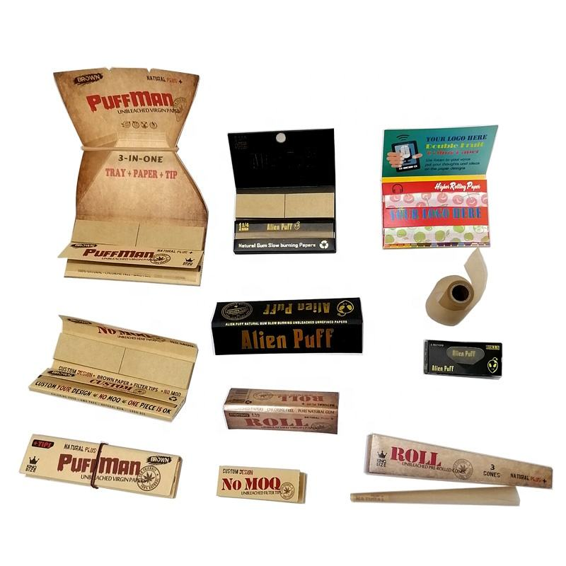 Branded custom Natural Arabic gum unbleached organic hemp rolling papers smoking skins