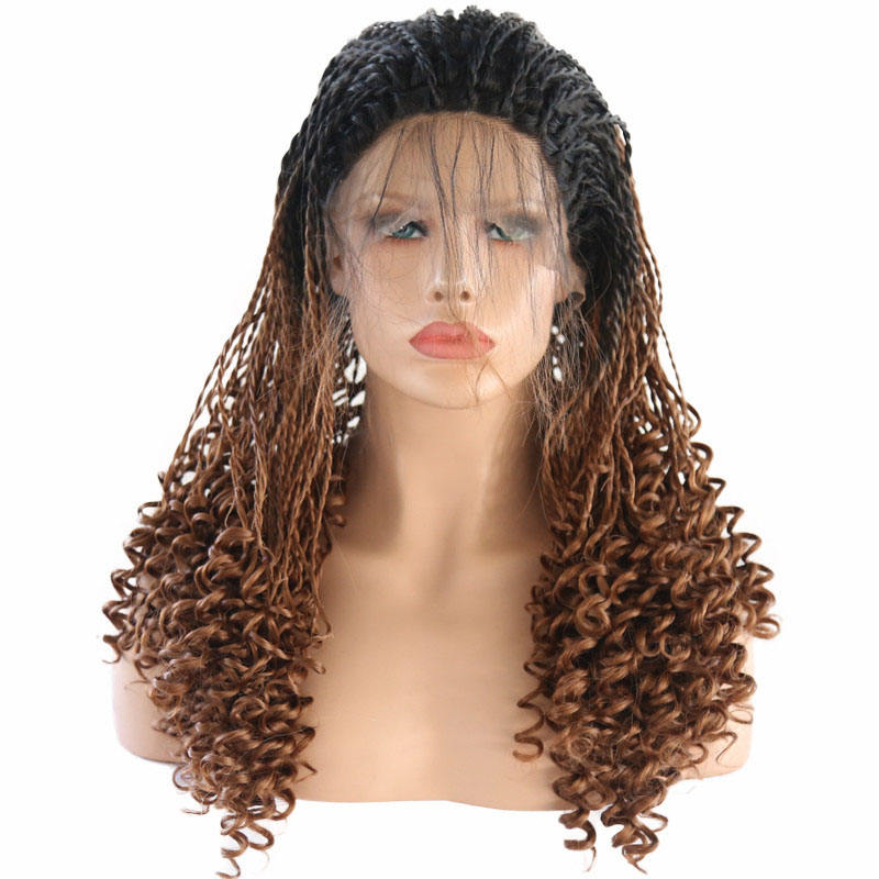 Long Braided synthetic hair wigs Lace Front Wig Micro Braids curly hair Ombre Brown Wig for Women with Baby Hair Free Part