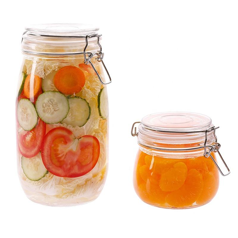 16oz 500ml Leak proof swing top glass storage jar, clip top glass jar, flip top glass jar for food home
