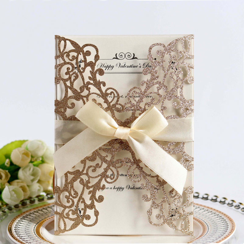 Gold Blue Silver Glitter Paper Laser Cut Wedding Invitation Card With Ribbon Personalized Wedding Decor Party Supplies
