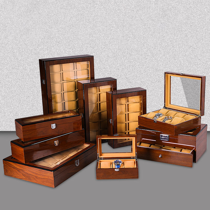 High quality 3 5 6 8 10 12 18 20 24 slots brown solid wooden watch box case