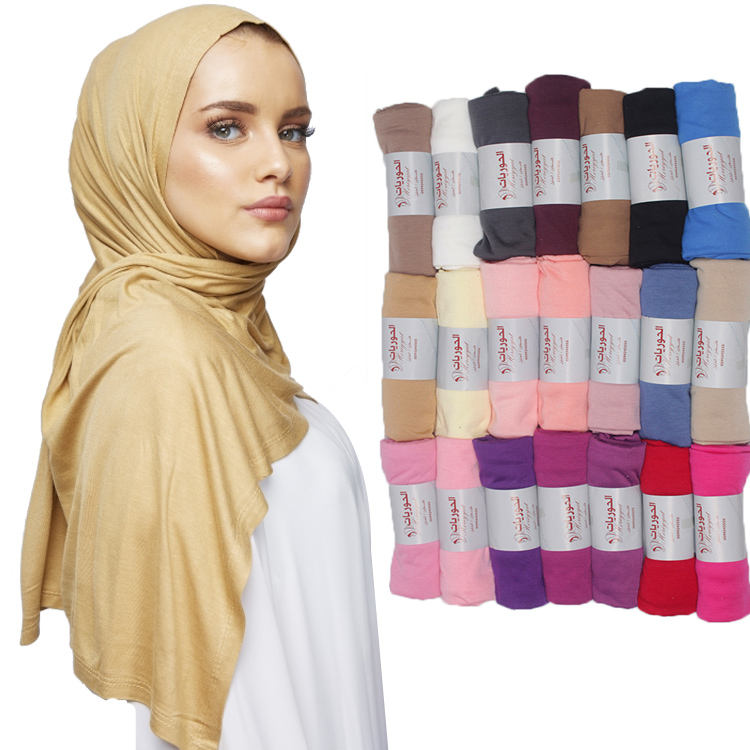 1$ Scarf Factory Wholesale Women Jersey Shawl Plain Hijab Muslim Scarf