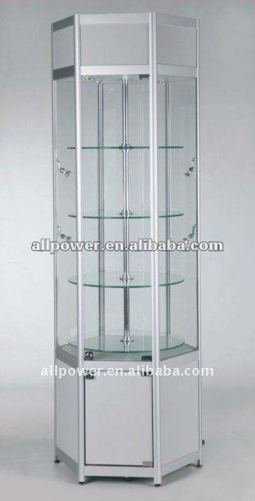 Alunimum framed tower display, glass showcase (HRT640)