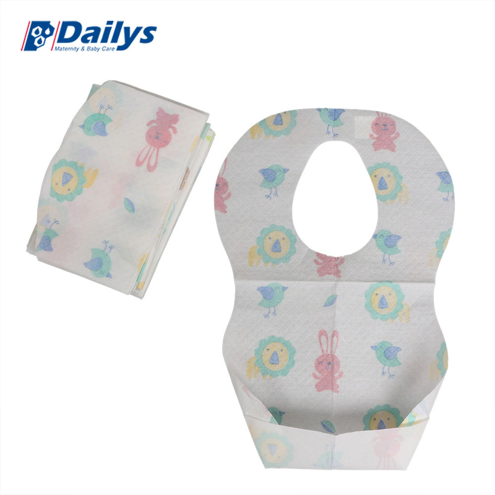 Printed paper bibs fancy custom baby bibs eating food pattern free in bulk waterproof with food pocket burp cloths
