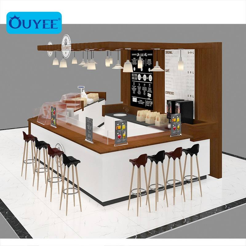 Customized Cafe Counter Furniture Modern Mall Coffee Shop Kiosk Designs Bar Counter Display Coffee Kiosks For Sale
