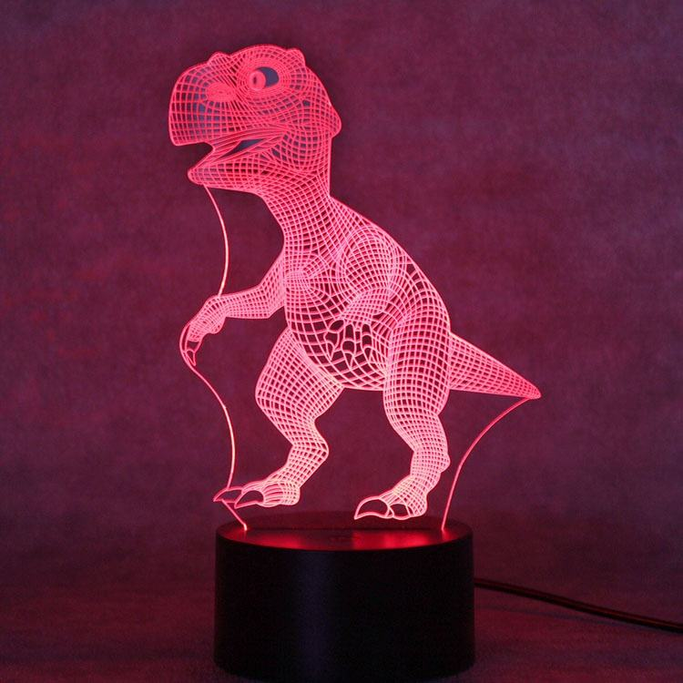 Dinosaur 3D Night Light Porpoise Bedside Lamp 7 Color Changing Xmas Halloween Birthday Gift for Child Baby Boy