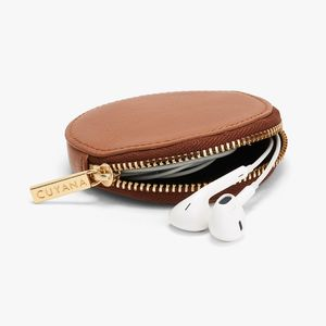 customize zip around round leather pocket coin purse
