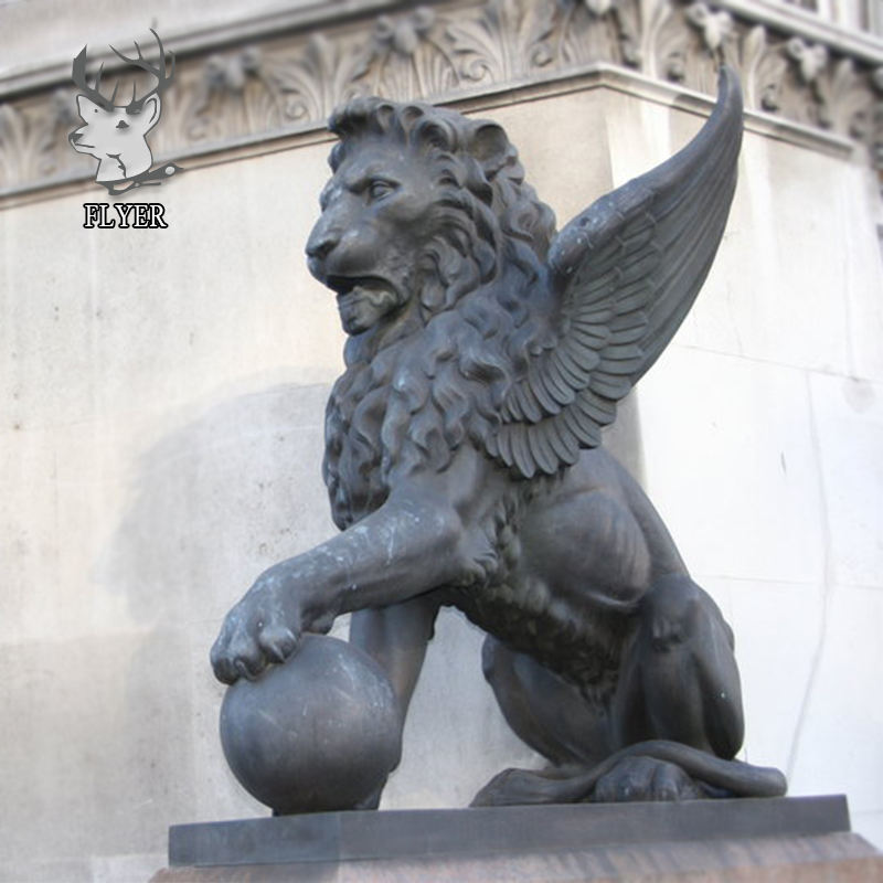 Outdoor life size brass winged lion sculpture for sale with ball