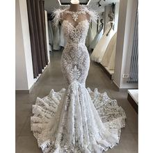 Sexy Mermaid Lace Wedding Dresses with Ostrich Feather Middle East Dubai Wedding Dress Bridal Gown 2019 New vestido de noiva