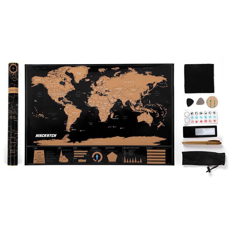 Custom scratch world map for kids