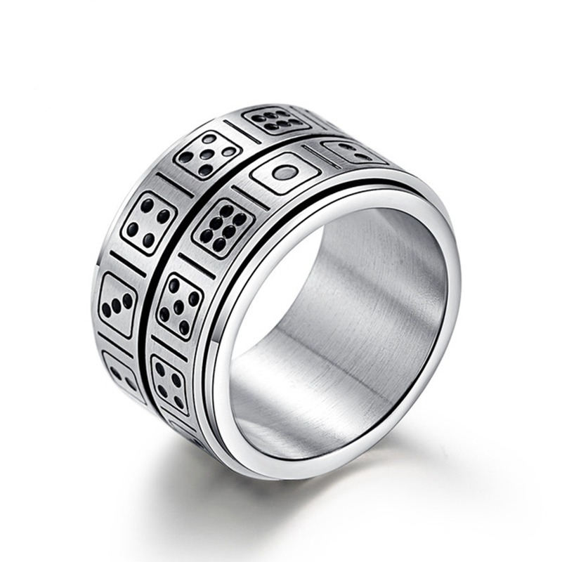 YK New Ideas Custom Logo Promotional Products Hot Custom Rotatable Stainless Steel Dice Ring