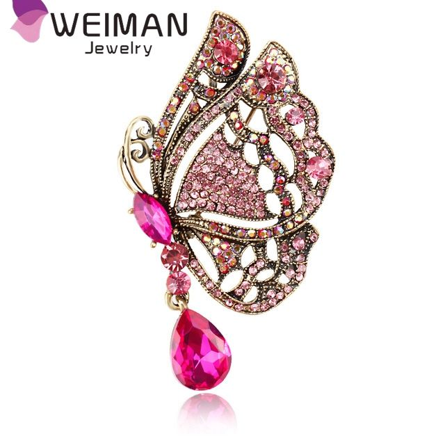 Weiman Jewelry Factory Direct Sale Pink Yellow Blue Crystal Diamante Butterfly Brooches for Women