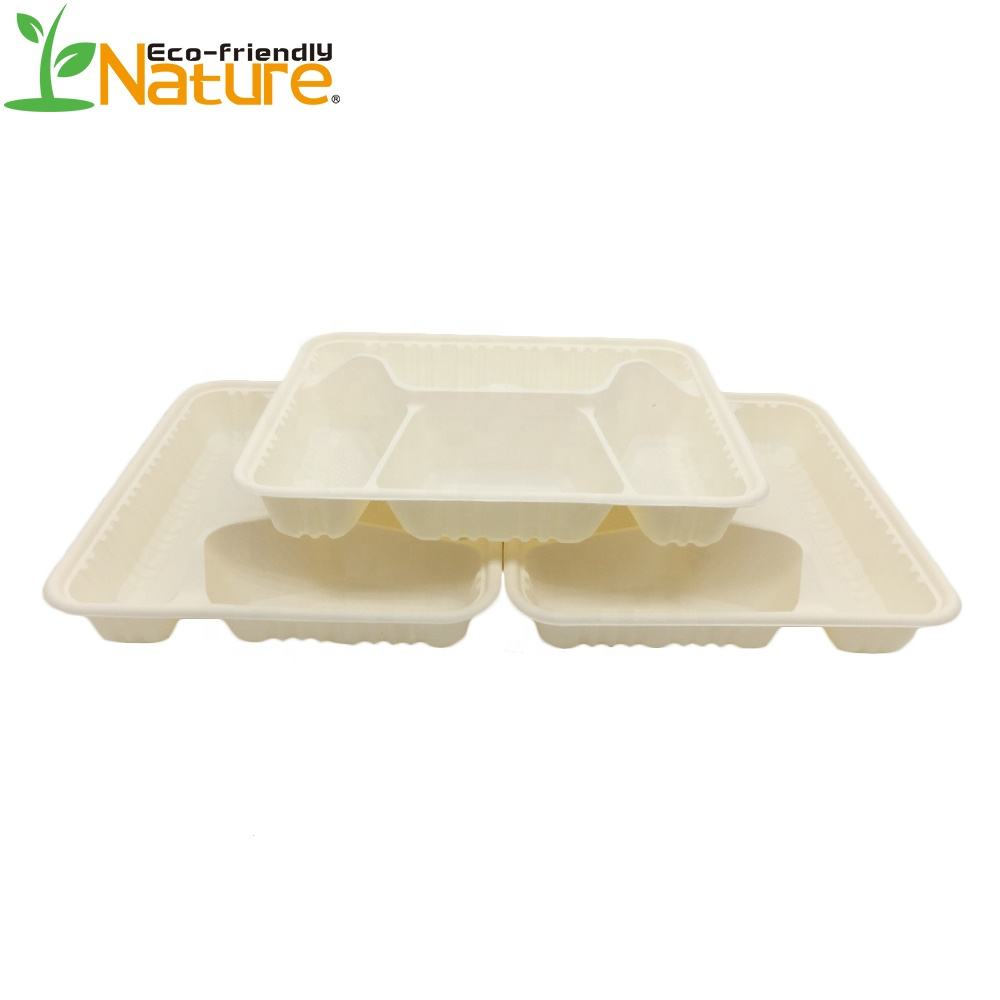 Corn Starch Disposable Tableware 4 Compartment Biodegradable Lunch Tray