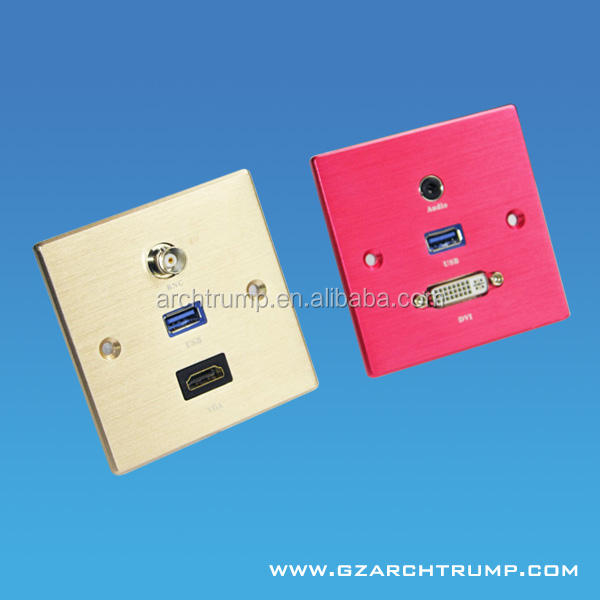 Aluminium Male Electrical Wall Socket/USB Wall Socket/USB Face Plate for Conference Room