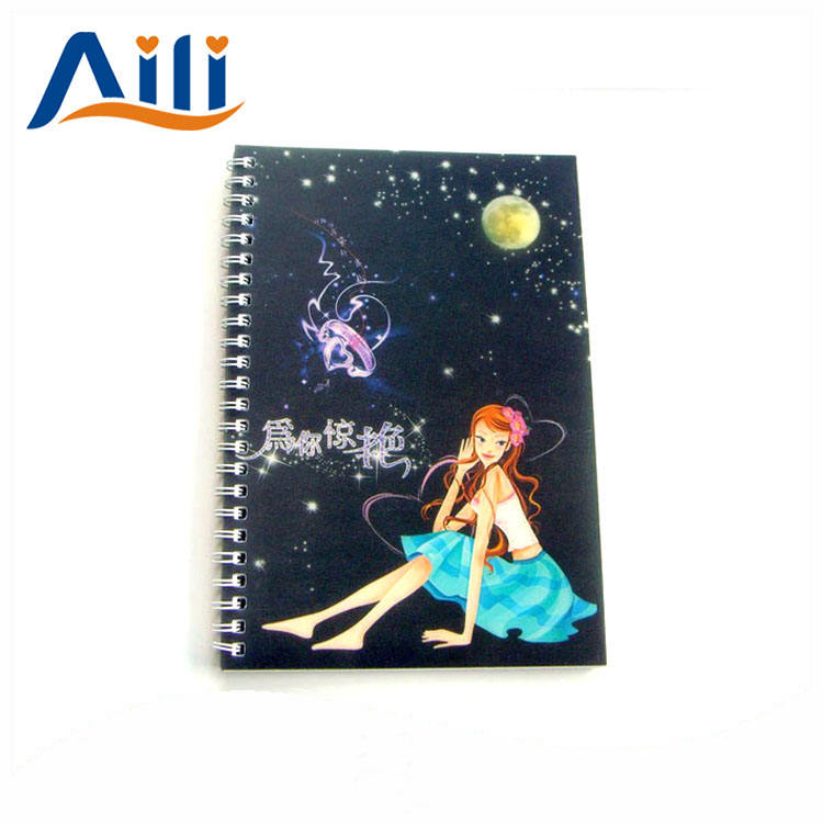 Customized high quality graphic hardcover pvc cover spiral notebook