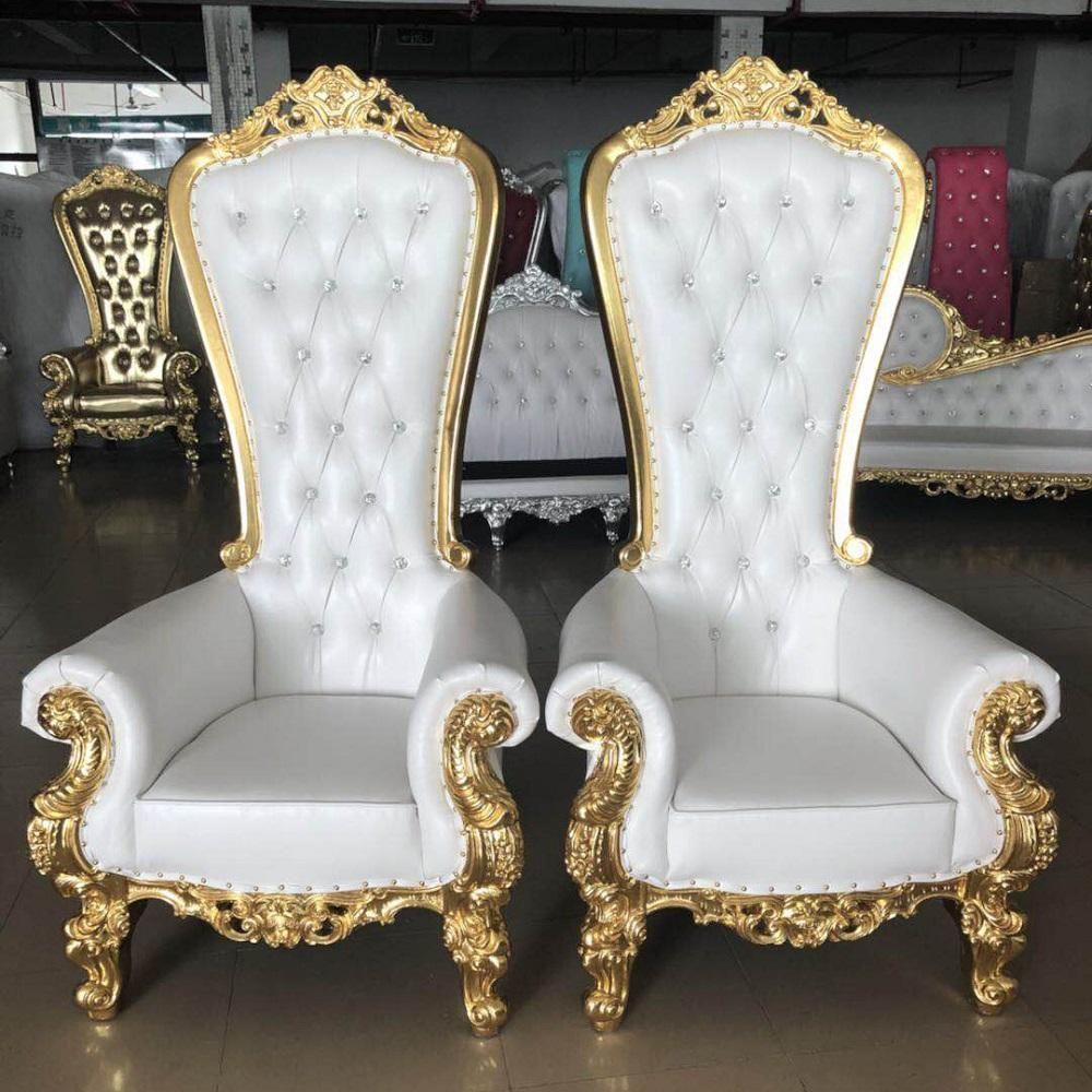 Luxury fancy high back wedding chair king and queen throne chairs for sale