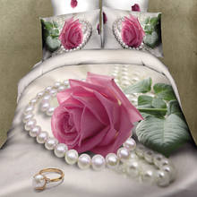 Wholesale Romantic 3D Wedding Pink Rose 100% Cotton Duvet Cover Sets , Bed Linen , Bedding Set