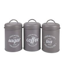 3pcs Vintage Tea Coffee Sugar Galvanized Metal Kitchen Canisters Sets With Lids