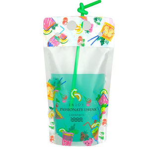 Customized beverage juice packaging stand up disposable drinking bag pouch