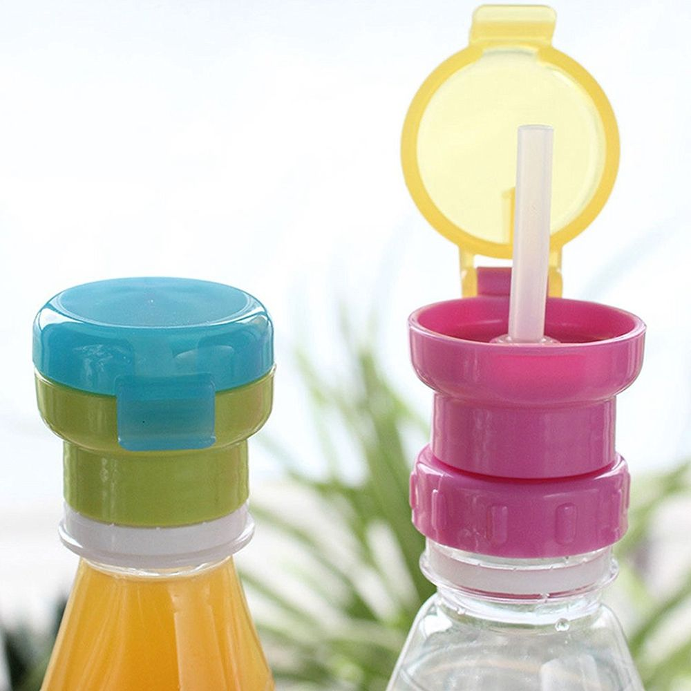 Water Bottle Twist Cover Cap With straw Child Safe Drink Straw Sippy Cap Feeding for Kids Infant