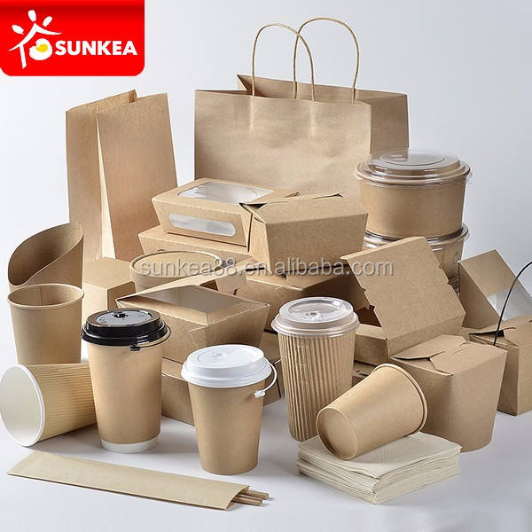 Disposable custom made paper take away food boxes and cup