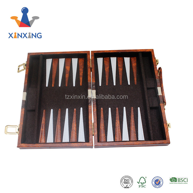 Wooden Backgammon Set Luxury Wooden PU Leather Backgammon Set Playing Board Game Set